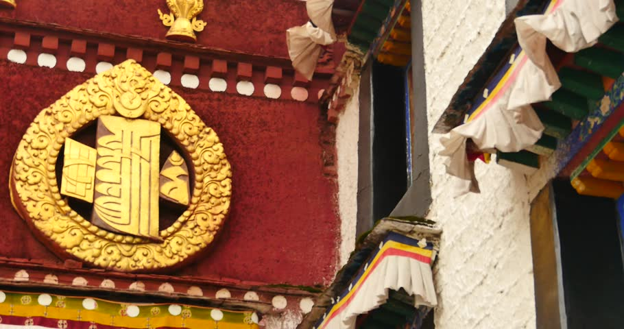 4k closeup of The Jokhang Temple In Lhasa,Tibet,white clouds in blue sky. gh2_09680_4k