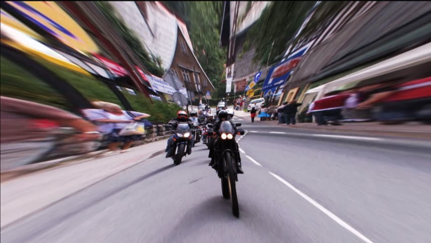 motorcycle rally with lens distortion
