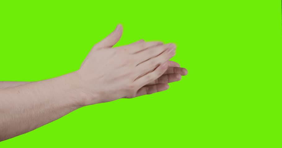 Adult young man hand clapping over green screen in slow motion, prores 60fps  | Shutterstock HD Video #15609544
