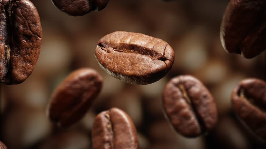 Roasted coffee beans with coffee dust falling down in front of dark background. Slow motion CG animation. | Shutterstock HD Video #15649594