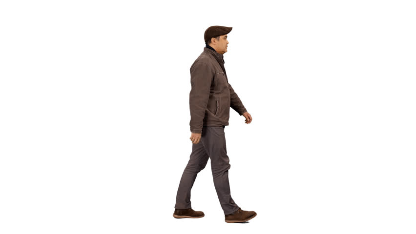 0f2a24a917a4 Side view of a man in casual wear walking, 4k shot with alpha channel