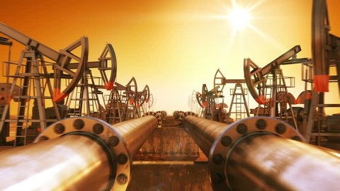 Moving at the Endless Pipeline and rows of Oil Pumps. Orange Sunset and Sun Shining in the Desert. Looped 3d animation. HD 1080. Technology and Transportation Business Concept.