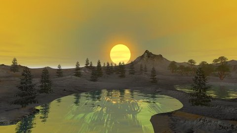 Sunset, a beautiful animation, two forests in the lake with reflection in the waters and a wonderful sky.