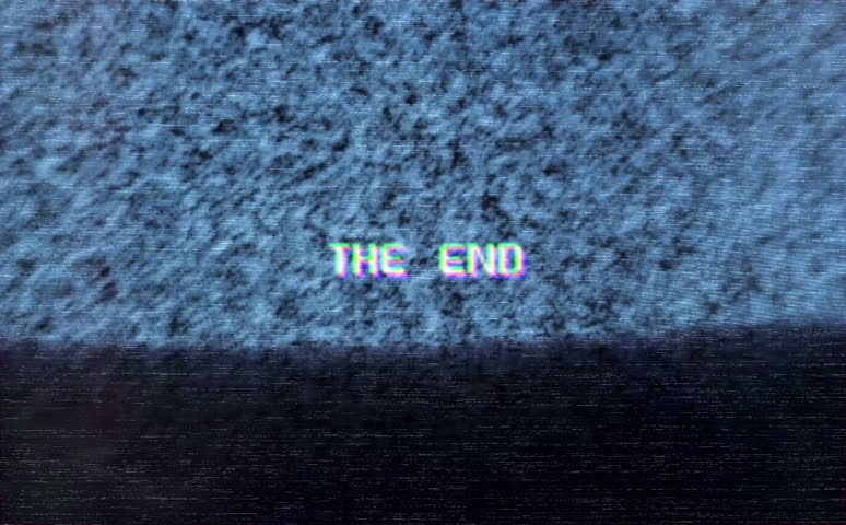Screen With Interference And Coloured The End Text Animation Of Old Tv