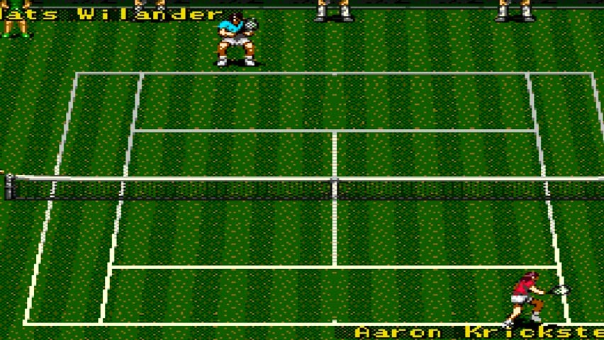 URYUPINSK. RUSSIA - APRIL 7, 2016: Gameplay game console Sega Genesis ATP Tour Championship Tennis -   retro console games on April 7 2016 in Urupinsk, Russia