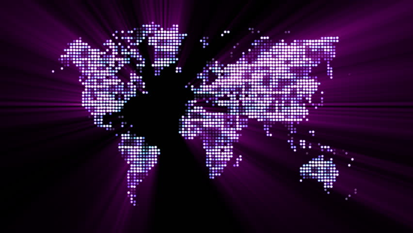 Abstract world map with colorful dots ideal for technology loopable digital world map technology abstract futuristic magenta world map made of shiny gumiabroncs Choice Image