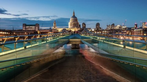 St Pauls Cathedral and Millennium bridge from day to night in London, UK.