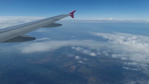 View from the airplane before landing the surroundings of Timisoara, Romania.