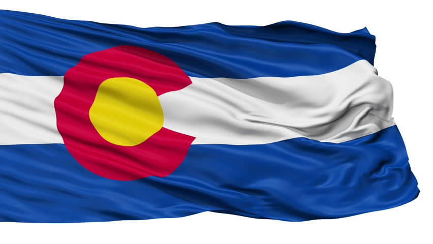 Colorado Flag Isolated Realistic Animation Seamless Loop - 10 Seconds Long