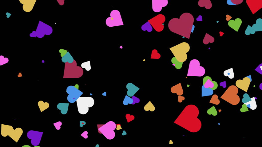 4k colorful Hearts BackGround loop. shining heart shapes loopable love background, Valentine's day background with hearts isolated on black seamless loop   Shutterstock HD Video #15800164
