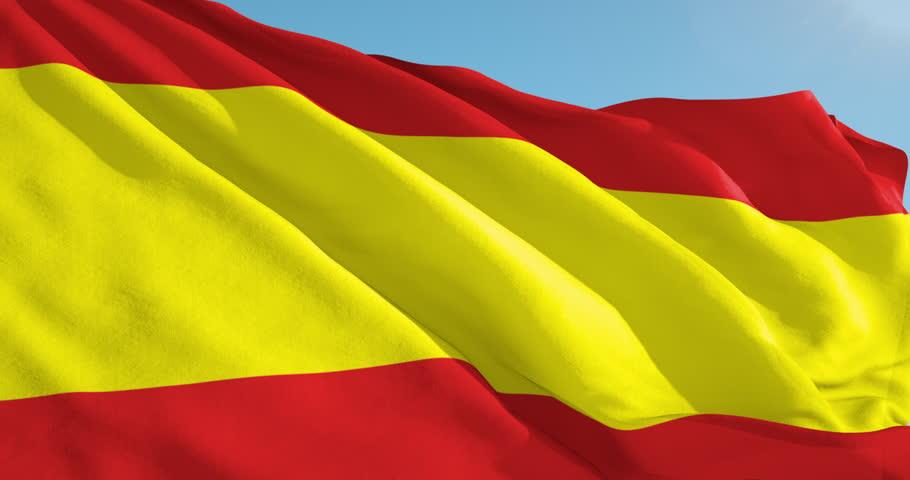 Beautiful looping flag blowing in wind: Spain