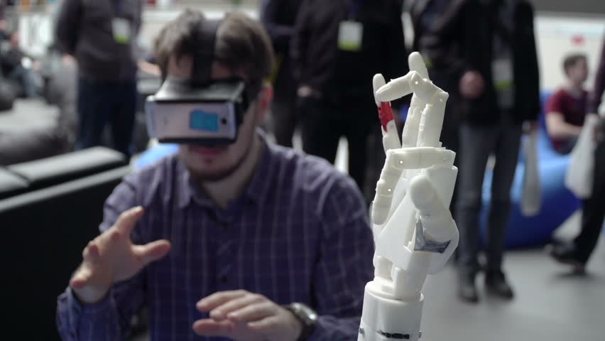 Man with innovative cybernetic system today. Game industry and motion tracking in cyberspace. 360 degree video and display interactive video. Printing on 3D printer. Sci Fi and plastic prosthetics. VR | Shutterstock HD Video #15810712
