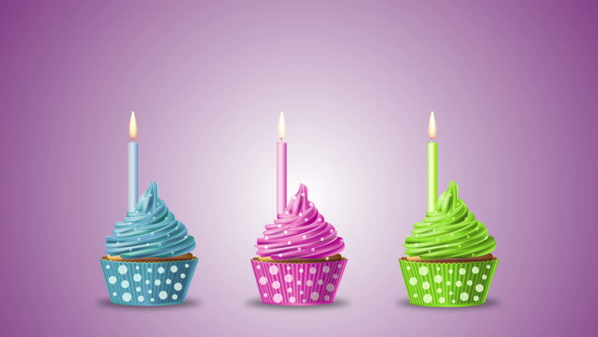 Happy Birthday With Cupcakes And Candles On A Blue