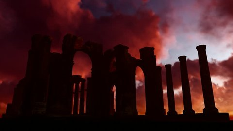 Arch Gate Palmyra. Red background moving clouds. Sunset. Great Colonnade at Palmyra was the main colonnaded avenue in the ancient city of Palmyra in the Syrian Desert. Sanchtuary of Bel. 3d render.