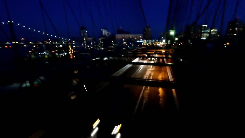 Brooklyn Bridge night traffic. | Shutterstock HD Video #15844384