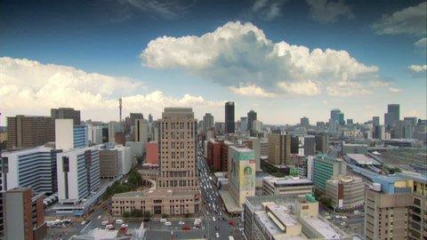 Timelapse aerial shot of Braamfontein in Johannesburg