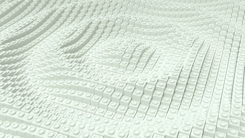Ripples made of white blocks. Loop ready animation.