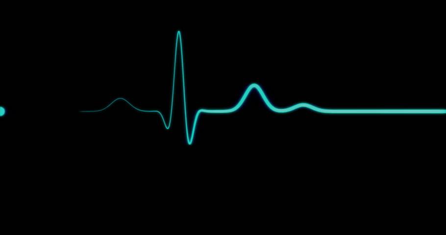 Loopable: EKG Monitor. Blue ECG monitor shows healthy heart beat. Seamless loop. (av23213c) | Shutterstock HD Video #15936754