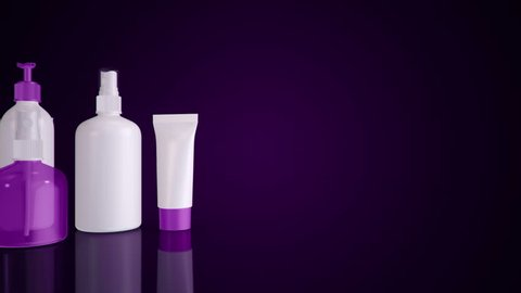 Animation of slow motion cosmetics set, hand cream and toilet water. Animation of seamless loop.