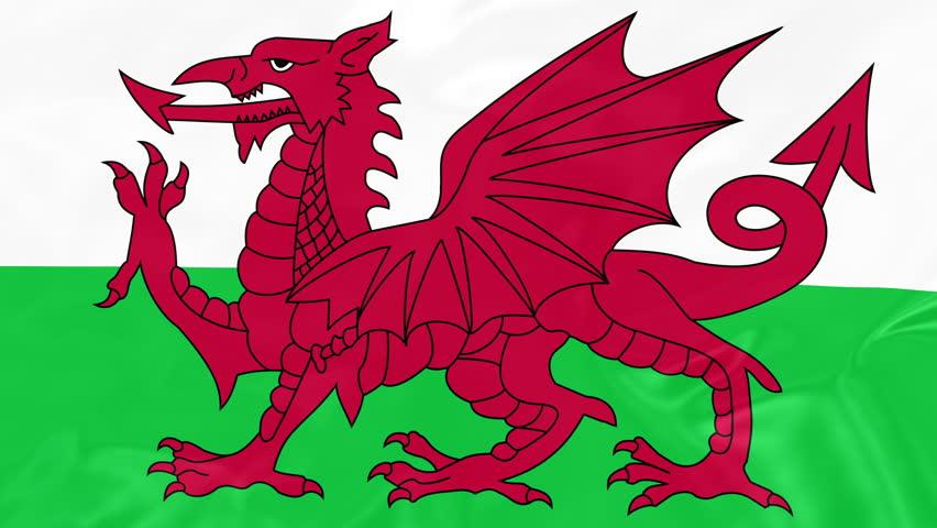 Welsh Flag - 4K Seamless Loop Animation of Waving Flag of Wales