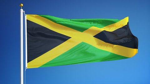 Jamaica flag waving in slow motion against clean blue sky, seamlessly looped, close up, isolated on alpha channel with black and white luminance matte, perfect for film, news, digital composition