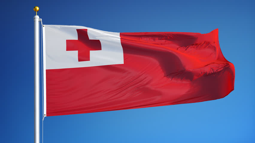 Tonga Flag Waving In Slow Motion Against Clean Blue Sky Seamlessly Looped Close Up