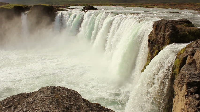 Godafoss waterfall in Iceland, side view