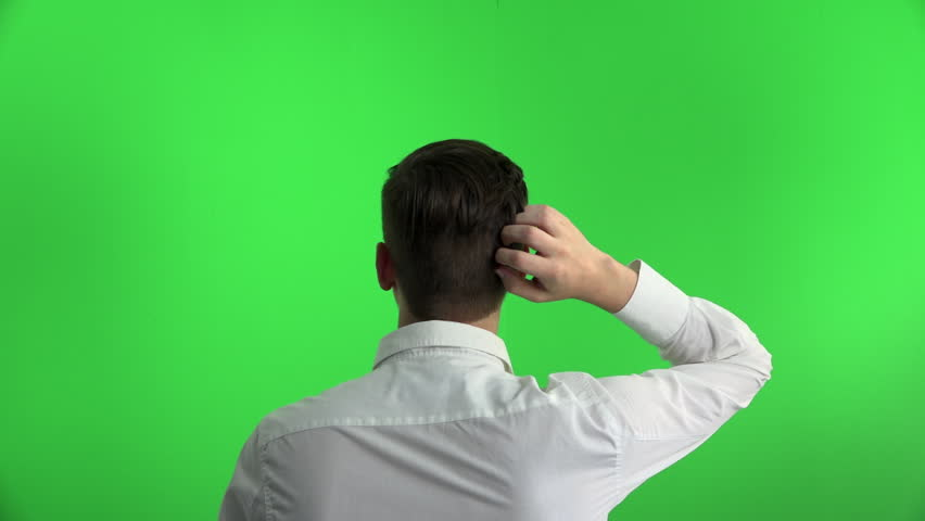 Young thinking idea businessman scratching head on greenscreen chromakey isolation background | Shutterstock HD Video #16001044