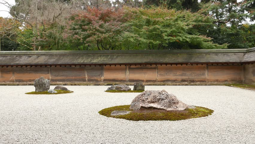 The Famous Dry Landscape Rock Garden At Ryoanji (or Ry?an J .