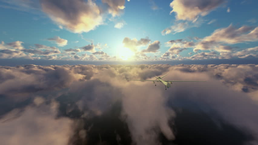 Military Drone launching missiles, above morning timelapse clouds, zoom in | Shutterstock HD Video #16009570