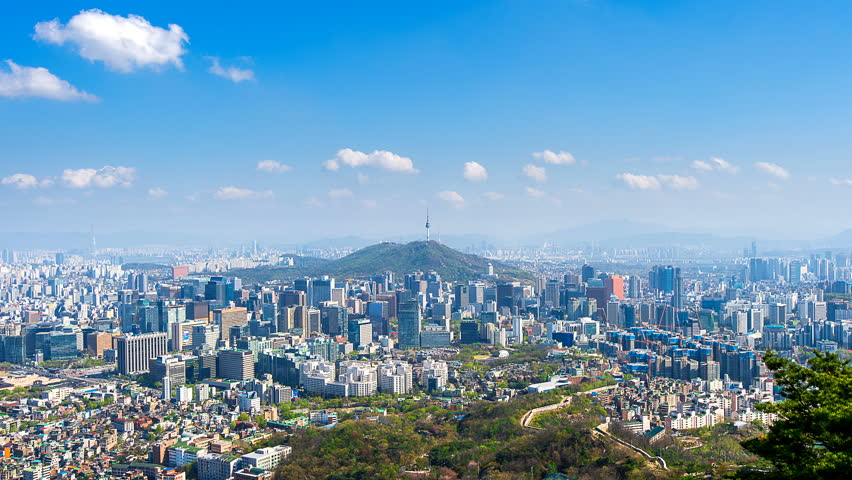 Time lapse of Cityscape in Seoul with Seoul tower and blue sky, South Korea. | Shutterstock HD Video #16036384