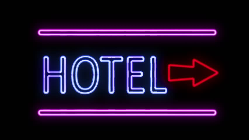 Hotel And Arrow Neon Sign In Retro Style Turning On