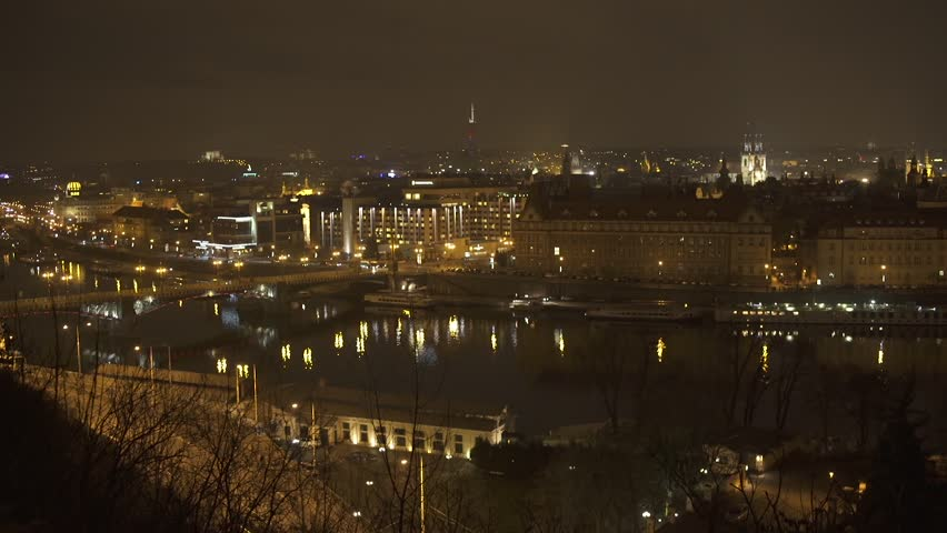 Vltava River Prague Timelapse at Night 2 HD | Shutterstock HD Video #16090774