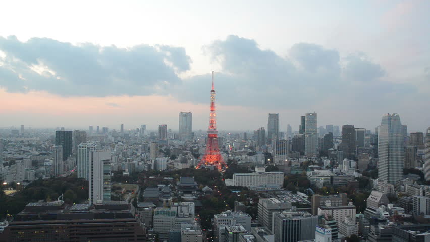 Timelapse tokyo tower lightup and sunset sky in tokyo japan | Shutterstock HD Video #16099474