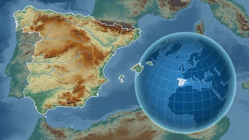 Spain Shape Animated On The Physical Map Of The Globe Stock