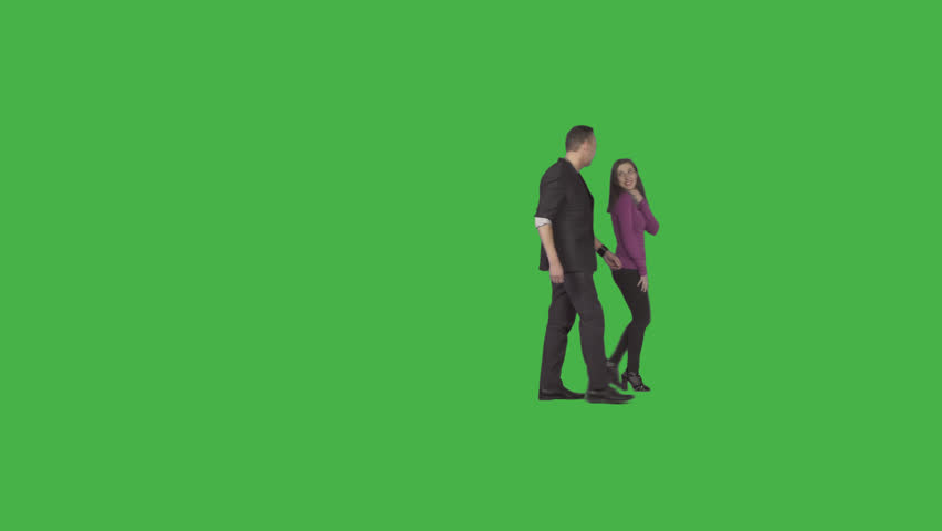 Man & girl walks, jokes, laughs. Footage with transparent background. File format - .mov, codec PNG+Alpha. Shutter angle -180 (native motion blur)