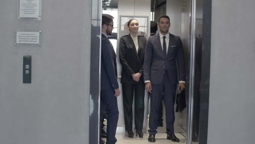 people in elevator. group of business people waiting for elevator on the first floor, entering it and moving up stock footage video 16139554 | shutterstock in o