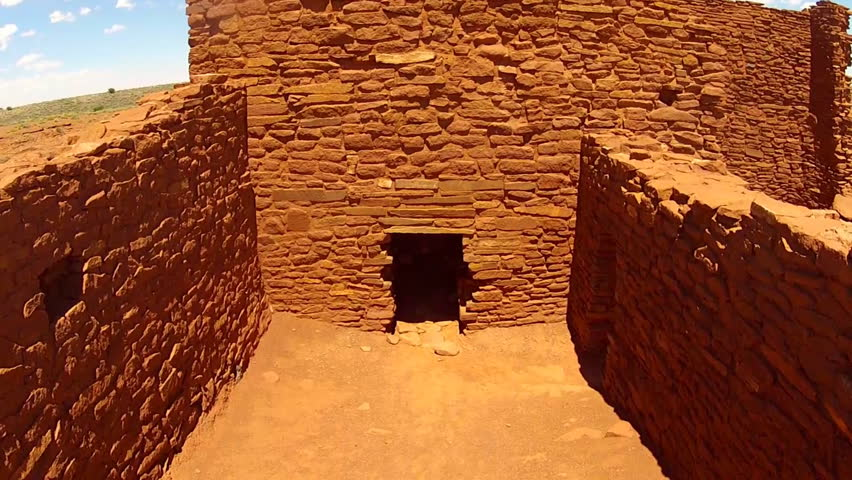 FLAGSTAFF, ARIZONA/USA- June 15, 2015- A close interior shot of the Sinagua Native American Indian Wukoki pueblo ruins in Wupatki National Monument near Flagstaff, AZ.