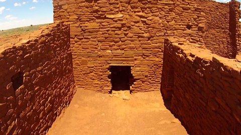 FLAGSTAFF, ARIZONA/USA- June 15, 2015- A close interior shot of the Sinagua Native American Indian Wukoki pueblo ruins in Wupatki National Monument near Flagstaff, AZ.