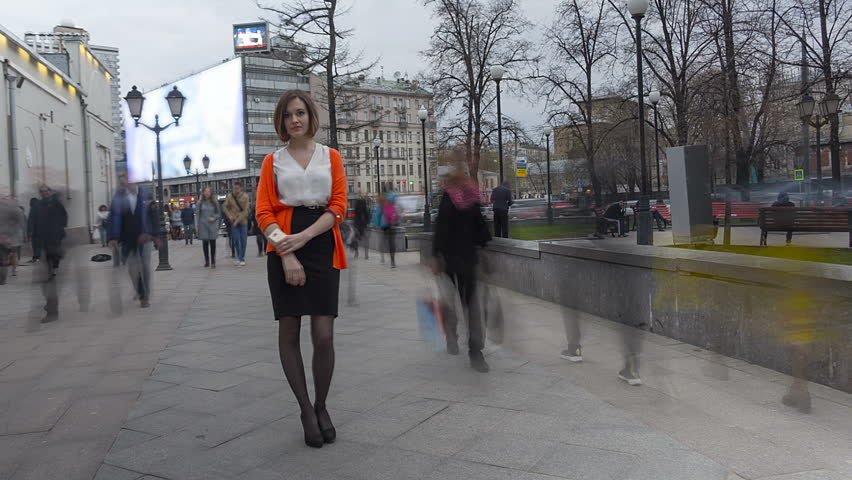 Timelapse with young woman on street #16172674