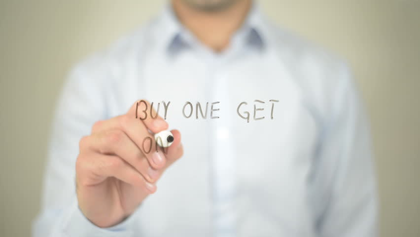 Buy One Get One Free, Man Writing on Transparent Screen | Shutterstock HD Video #16194205