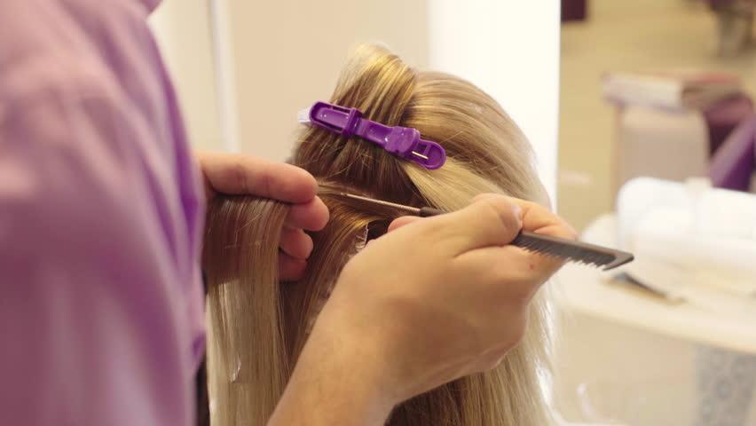 Hairdresser Dye The Hair Dye Blonde Girl Sitting In A