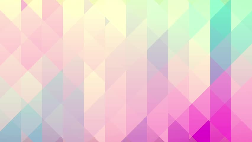 Abstract background of triangles in a geometric pixelated mosaic tile pattern. Pink, orange, blue, violet, purple and creamy yellow color scheme.
