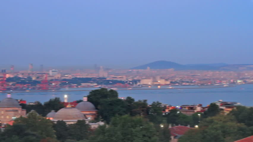 Istanbul with amazing Mosques; Pan from Blue Mosque to Hagia Sophia