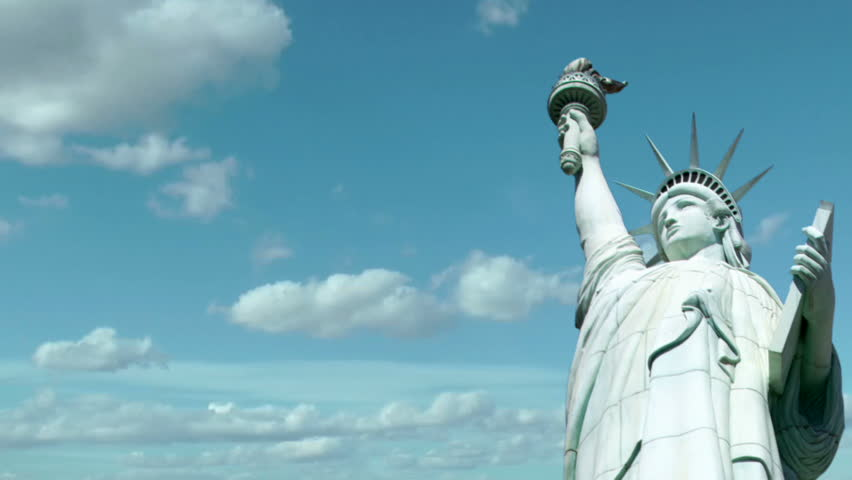 Statue of Liberty with time lapse clouds in background | Shutterstock HD Video #1626454