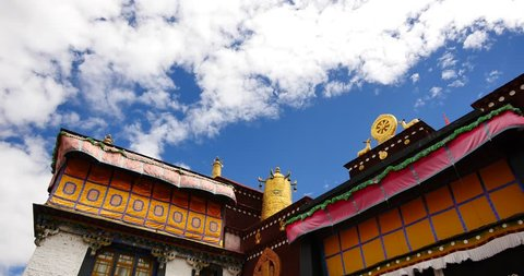 4k closeup of The Jokhang Temple In Lhasa,Tibet,white clouds in blue sky. gh2_09629_4k