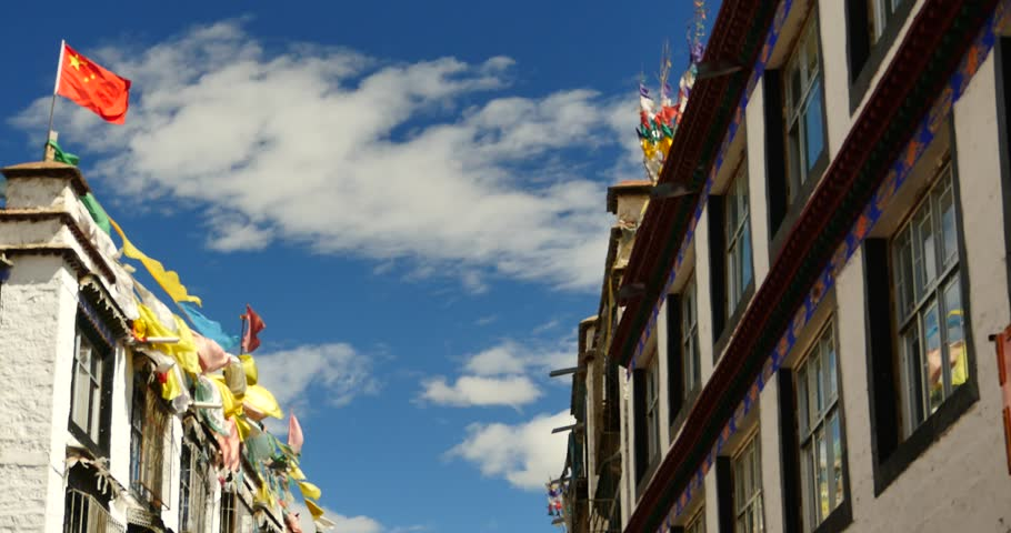 4k famous barkhor street building in lhasa,tibet. gh2_09593_4k