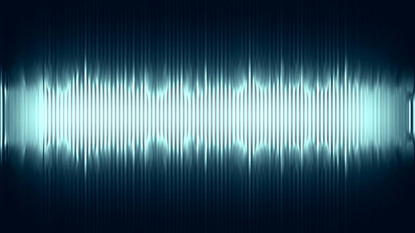 distorted blue and bright audio waves