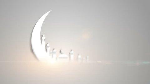 Islamic ramadan in white moon shape,Light ray effect. UHD 4k 3840x2160.