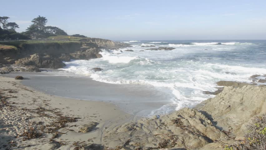 Time lapse of waves breaking at Cypress Point on 17-mile drive in Carmel, California.
